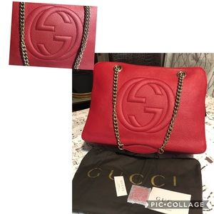 Authentic Gucci Soho Leather Chain Bag 353126